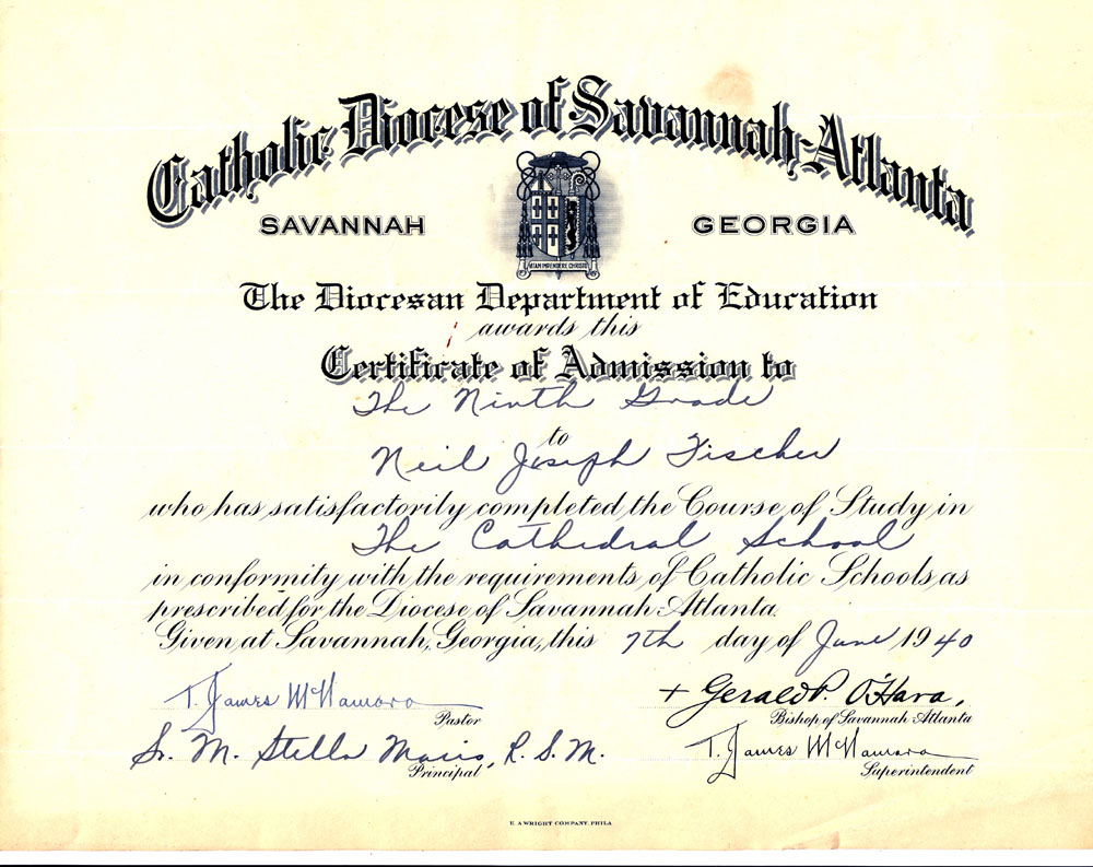Fischer photos daddys certificate of graduation to 9th grade from cathedral school is this the same as marist brothers xflitez Images